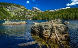 Water mountains nature wood forest rock wildlife cliffs lakes wallpaper