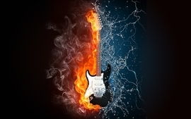 Water music fire guitars lightning air wallpaper