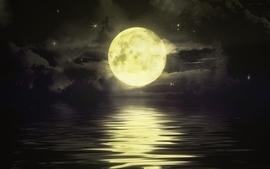 Water night stars moon artwork night sky wallpaper