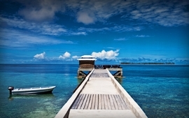 Water ocean beach sea ships tropical pier paradise islands wallpaper