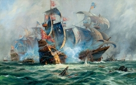 Water paintings ships battles artwork sea wallpaper