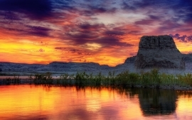 Water sunset clouds landscapes horizon photography hills lakes wallpaper