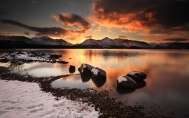 Water sunset mountains clouds landscapes nature winter season wallpaper