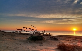 Water sunsets clouds beach sand wallpaper
