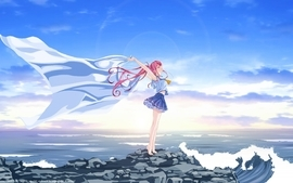 Water video games clouds seas waves school uniforms schoolgirls wallpaper