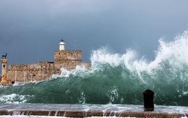 Water waves lighthouses wallpaper