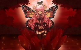 Wings red gloves flowers tie long hair sparkles pink hair thigh wallpaper