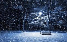 Winter snow night bench lamp posts wallpaper