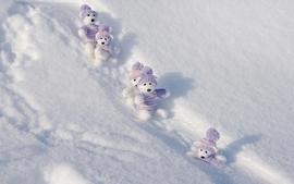 Winter snow teddy bears wallpaper