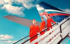 Women advertisement airliners aeroflot commercial flight wallpaper