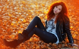 Women autumn leaves redheads asians wallpaper