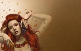 Women autumn redheads deviantart grapes drawings wallpaper