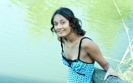 Women blue eyes models smiling curly hair girls in nature 2 wallpaper