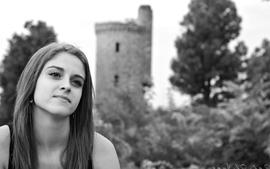 Women castles grayscale smiling monochrome faces wallpaper