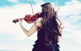 Women clouds violins skyscapes wallpaper