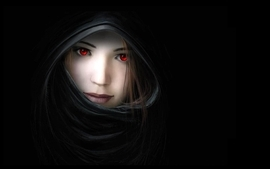 Women dark mouth red eyes artwork noses hooded witches black wallpaper