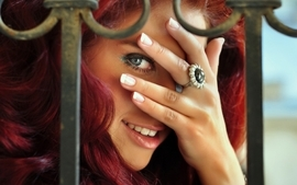 Women eyes redheads models smiley faces wallpaper