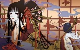 Women flowers japanese long hair kimono mokona xxxholic anime 2 wallpaper