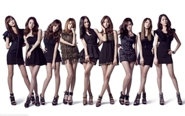 Women girls generation snsd korean black dress kpop bracelets wallpaper