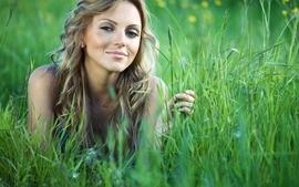 Women grass faces wallpaper