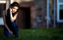 Women jeans grass depth of field black hair wallpaper