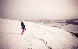 Women landscapes snow hats wallpaper