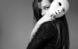 Women models masks monochrome wallpaper