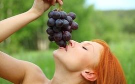 Women models metart magazine grapes closed eyes orange hair wallpaper