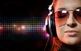 Women music glasses headphones girl girls with glasses wallpaper