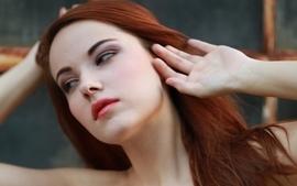 Women redheads models brown eyes faces elizabeth marxs red lips wallpaper