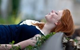 Women redheads models freckles wallpaper