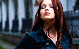Women redheads outdoors closed eyes wallpaper