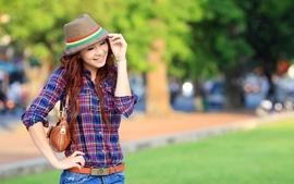 Women redheads outdoors hats wallpaper