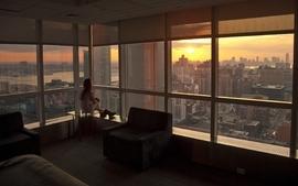 Women window skyscrapers wallpaper