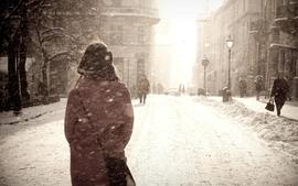 Women winter snow sepia roads monochrome december street wallpaper