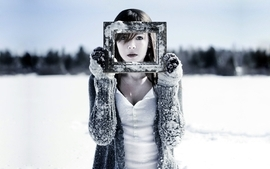 Women winter snow wallpaper