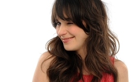 Women zooey deschanel smiling red dress wink white background wallpaper