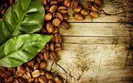 Wood coffee leaves drinks contrast beans wallpaper