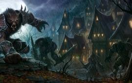 World of warcraft houses moonlight armor werewolf swords raining wallpaper
