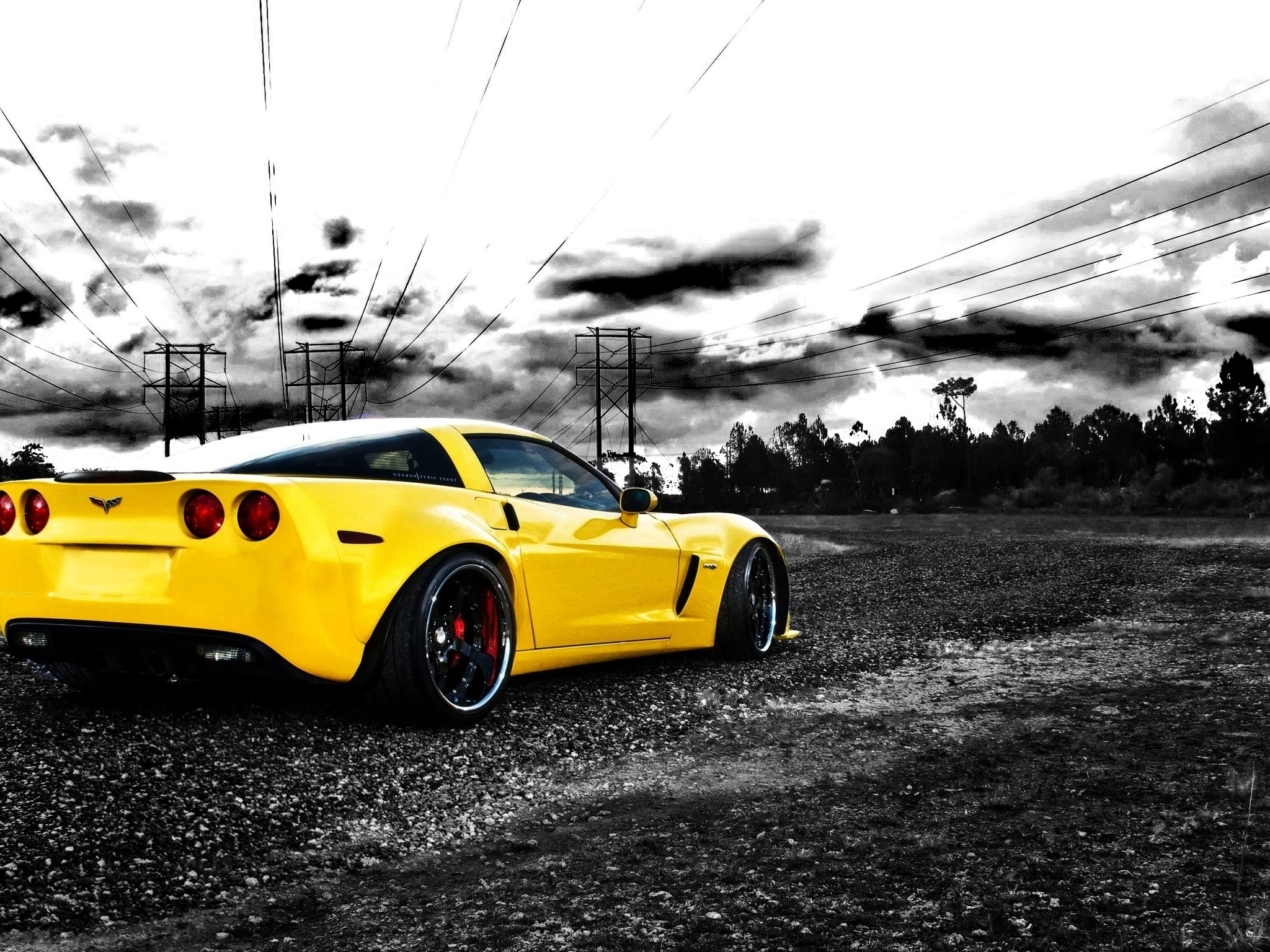 Cars photography vehicles chevrolet corvette selective coloring (2048x1536)