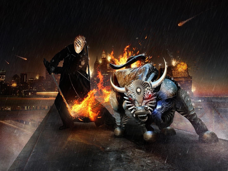 Monsters fire fantasy art artwork (1440x1080)