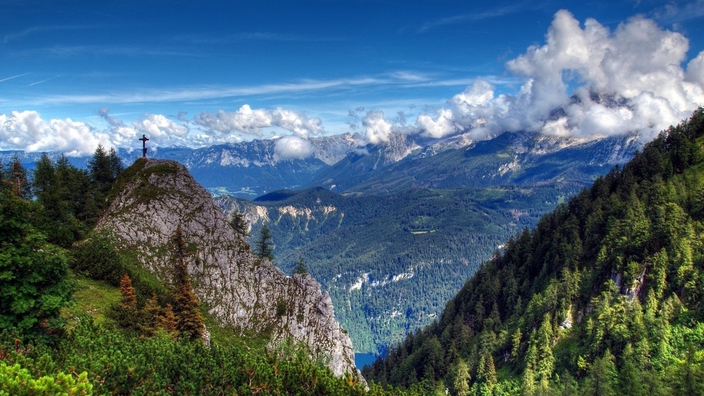 Mountains landscapes cross forest valley (1024x576)