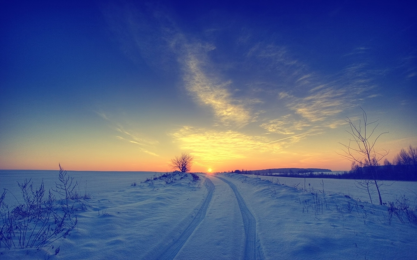 Sunsets landscapes nature winter snow skyscapes (1440x900)