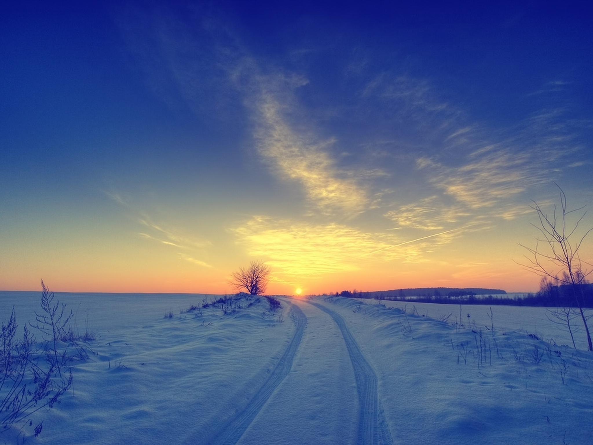 Sunsets landscapes nature winter snow skyscapes (2048x1536)