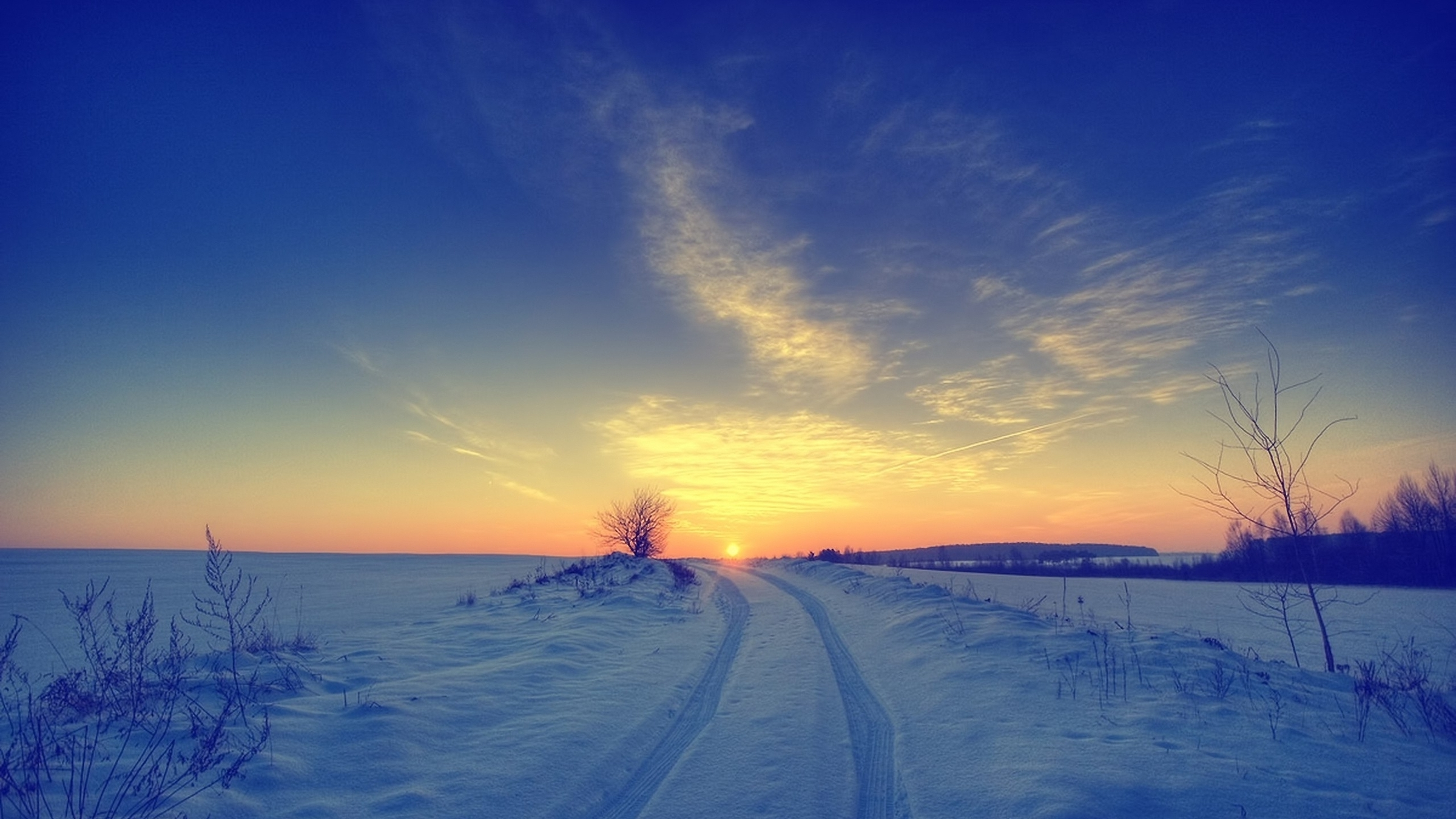 Sunsets landscapes nature winter snow skyscapes (2400x1350)