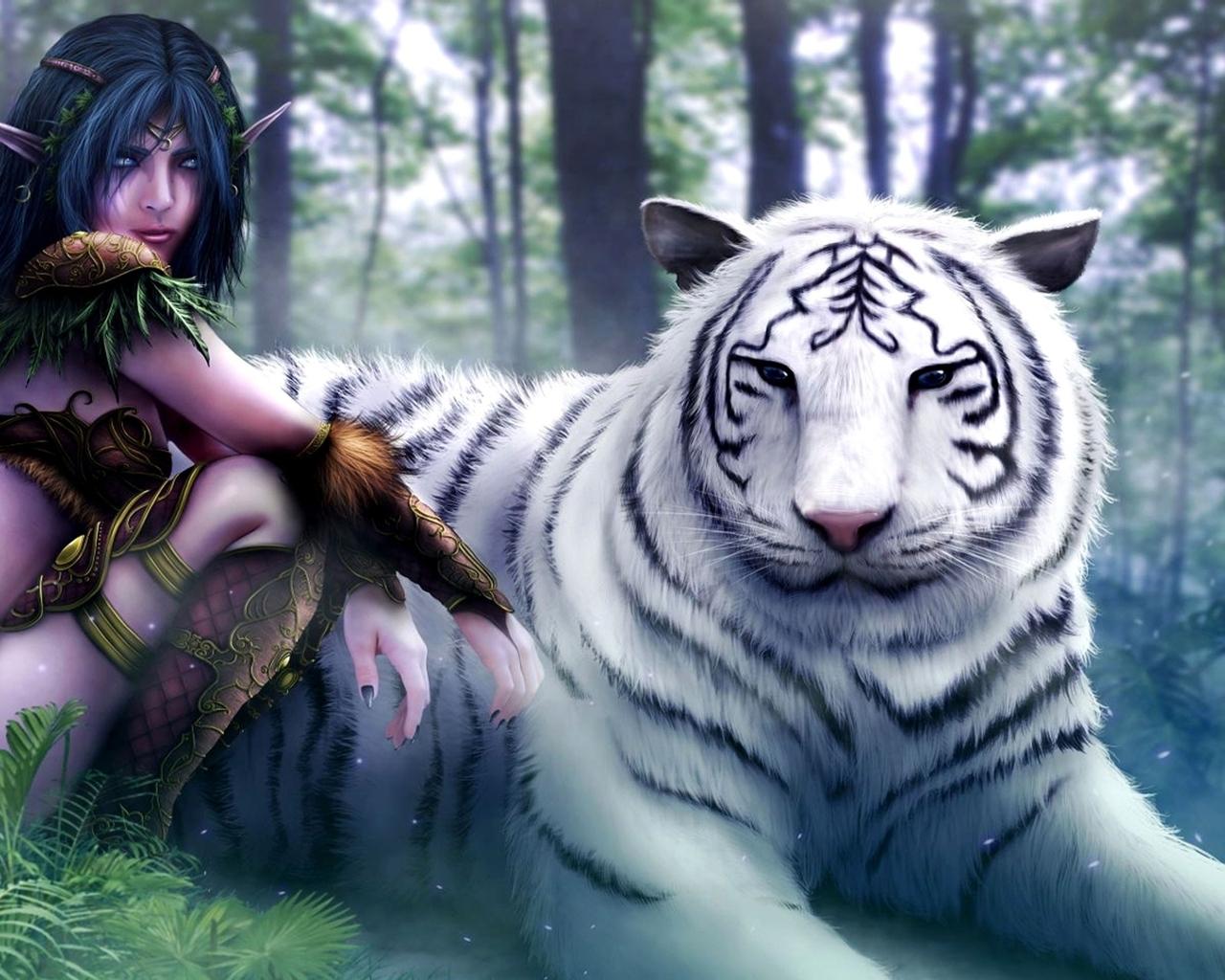 World of warcraft white tiger fantasy art elves artwork drawings (1280x1024)