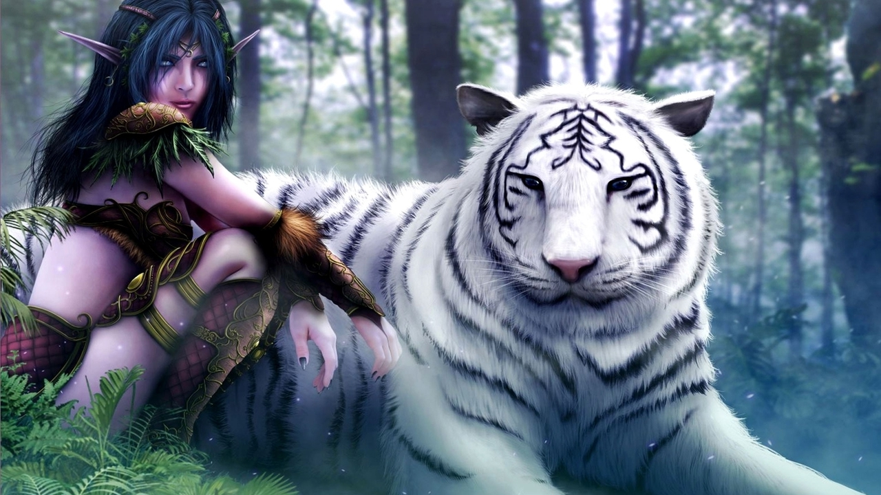 World of warcraft white tiger fantasy art elves artwork drawings (1280x720)