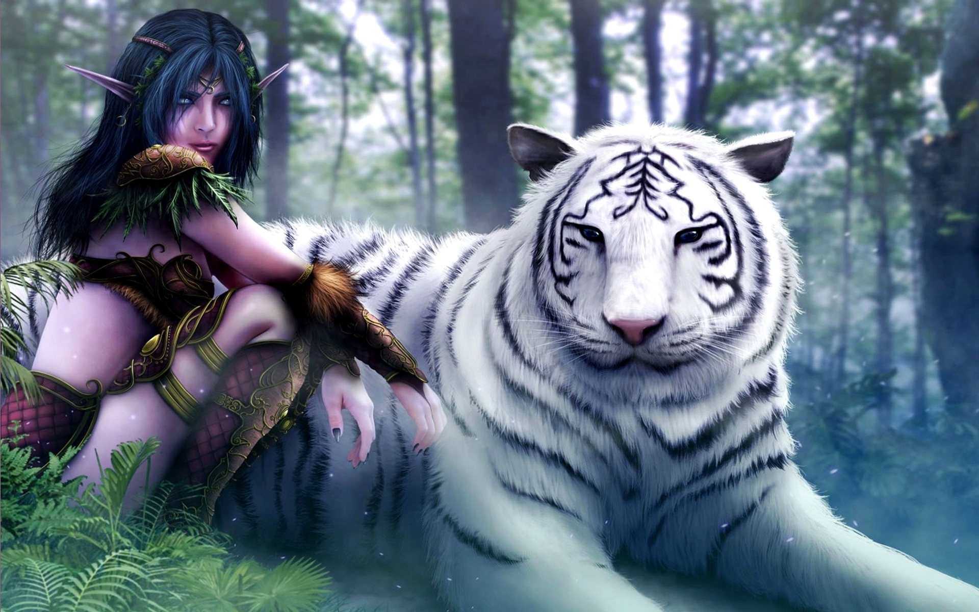 World of warcraft white tiger fantasy art elves artwork drawings (1920x1200)