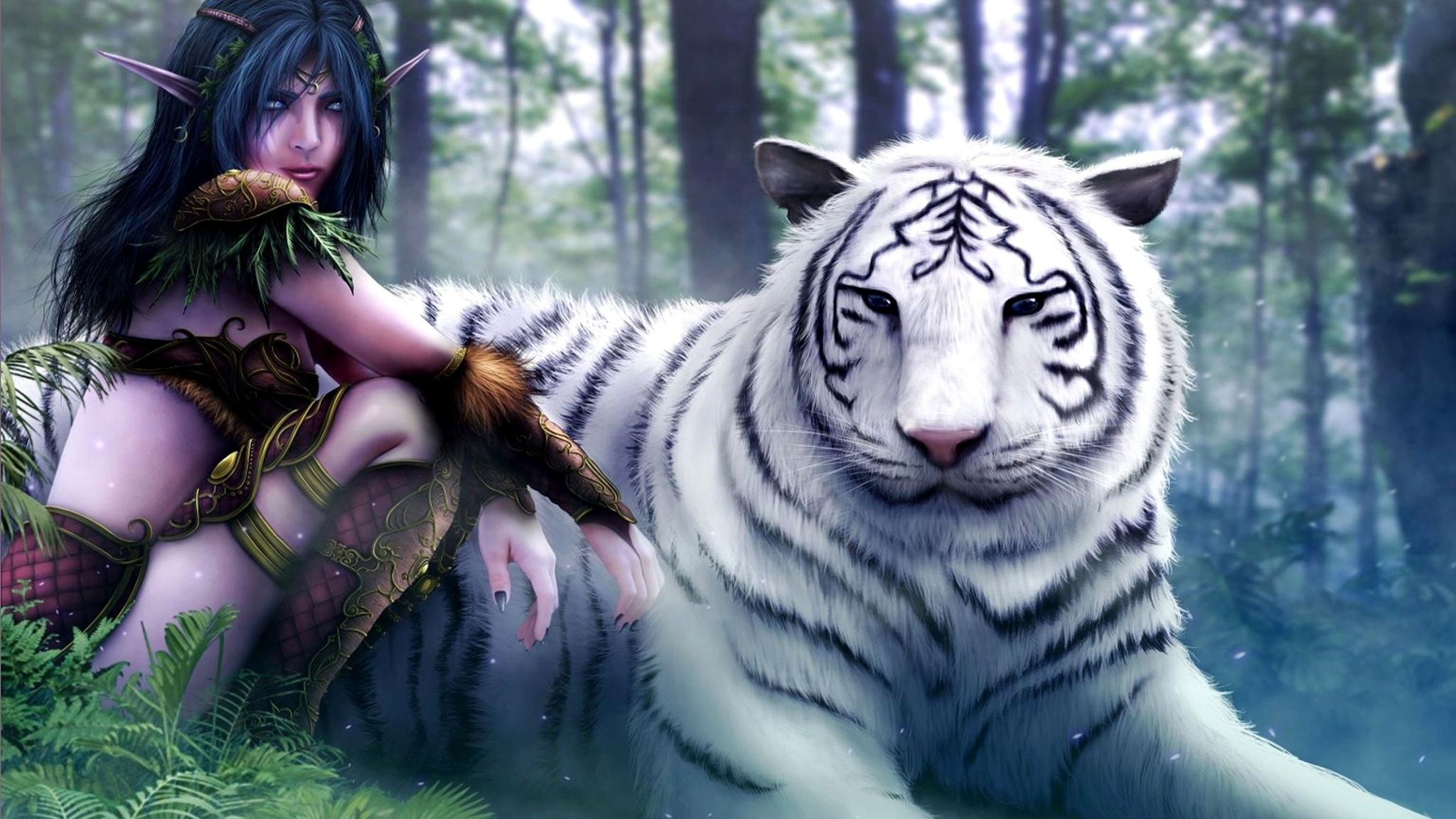 World of warcraft white tiger fantasy art elves artwork drawings (2048x1152)